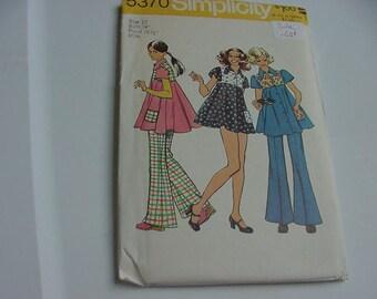 Vintage 1970s Simplicity Pattern 5370, Misses Short Dress, Bikini Pants, Hip Hugger Bell Bottom Pants,  Size 12, Bust 34, Uncut