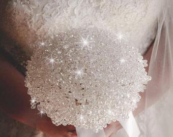"""Swarovski elements crystal 'Elegance' bridal wedding bouquet 8"""""""