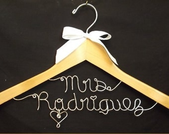Personalized Wedding Mrs on top line, Custom Bridal Hanger, Brides Hanger, Bride, Name Hanger, Wedding Hanger, Personalized Bridal Gift