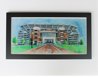Alabama Crimson Tide Stadium football Drawing 10x20  Art Print