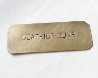 Brass Nameplate, Large Font Personalized Plaque, Rectangle Shape, Copper Hand-Stamped Plate, Custom Made Name Tag, SMALL 2.25x .75 inches