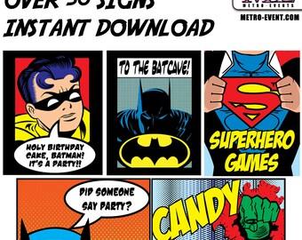 Super Hero Party Signs, Batman Party Sign, Superhero Party Decorations, Superhero Wall Art, Superhero Signs, Superhero Sign Kit, Birthday