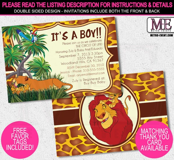 It's just a picture of Witty Printable Lion King Baby Shower Invitations
