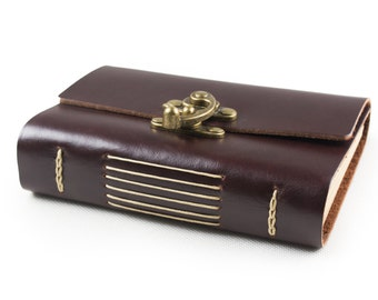 Vintage Leather Journal Diary Notebook with Cool Lock A6 Blank Lind Craft Paper Handmade Dark Coffee Small with Gift Box