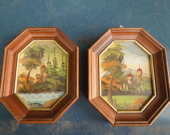 Pair Oil Paintings on Metal Framed Castle Landscape Lake River Trees Framed Small Signed