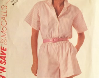 eco friendly 80s vintage printed sewing pattern//shorts and shirt by McCall's--size 6.8.10