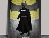 Batman Poster.Superheroes Minimalist .Batman Superhero poster, Heroes Illustrations, Wall art, Artwork, DC comics poster, Gift,Gift for him