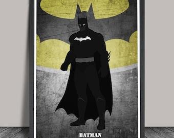 Batman Poster.Superheroes Minimalist .Batman Superhero print, Heroes Illustrations, Wall art, Artwork, DC comics poster, Gift,Gift for him