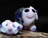 LampworkTurtle Bead Nature Pink Blue Purple Tiny Cute Character Flowers Charm