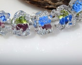 Lampwork Bead Set Organic Blue Mauve Green Unusual Autumn Fall