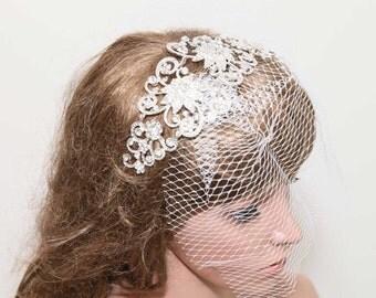 Vintage inspired veil, Birdcage veil, Rhinestone hair comb veil, Rhinestone crystal veil, Bridal veil