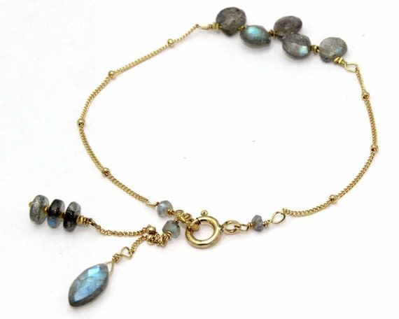 Labradorite Briolette Bar Bracelet. Gemstone teardrops. Gold filled, sterling silver & more Gemstone Options. B-1772.