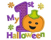 My First Halloween Baby Girl Halloween Applique Embroidery Design HA012