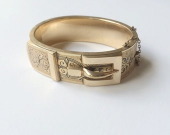 Victorian Bangle, Taille D'Epargne, marked B&B, Bates and Bacon Antique Gold Bangle, Basse Taille, Taille Depargne Hinged Buckle Bangle