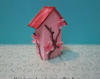 Price REDUCED! Miniature Dollhouse Hand-made Shabby Sakura birdhouse with cherry blossoms for Barbie, Blythe, etc. 1:6th Scale
