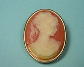 Pink and Ivory Cameo Perfume Locket Pendant Brooch