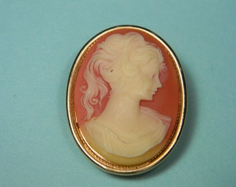 Cameo Perfume Locket Pendant Brooch, Pink and Ivory
