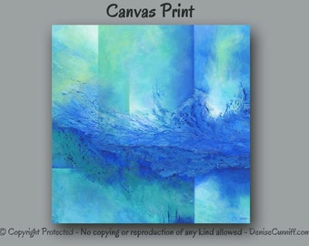 Canvas art print, Large abstract wall art, Cobalt blue artwork, Teal home decor, Office decor, Turquoise Aqua, Square picture XXL up 2 40x40