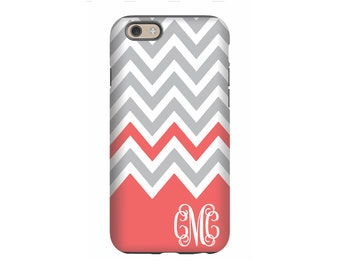 Personalized iPhone 6 case, Coral Chevron, iPhone 5 case, iPhone tough case, iPhone snap on case, 3d iPhone case