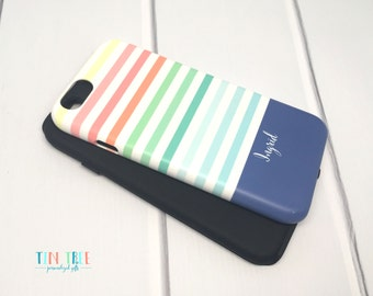 Personalized iPhone case - Rainbow Stripes - iPhone 7 case, iPhone 6 Case, iPhone tough case