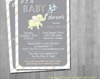 BABY SHOWER Elephant Baby Shower Invitations, Custom Colors, Printable Invitation File, Printable Invite, Digital File