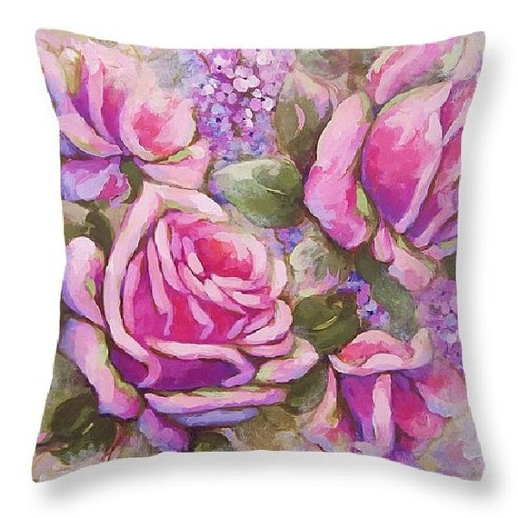 rose pillow rose painting art pillow decorative by RoyalRococo