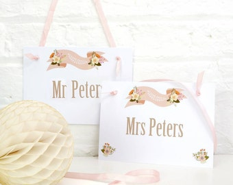 Personalised Mr and Mrs Wedding Chair Signs