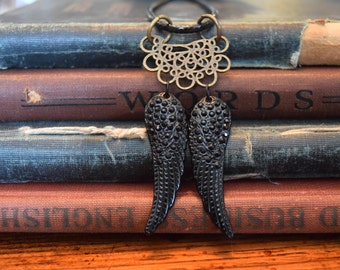 Steampunk Angel Wings, Clockwork Angel, Infernal Devices, Mortal Instruments, Steanpunk Jewelry, Hush Hush Necklace, Steampunk Necklace