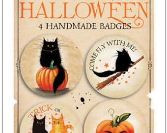 Mad Old Cat Lady NEW Halloween pin badges pack 1