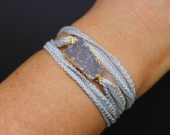 """Custom Druzy Agate """"Unity"""" Silk Wrap Bracelet"""