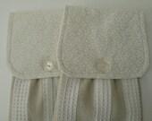 Hanging Kitchen Towel Set-  Cream Flowers Light Beige Background Light Beige/Cream White Stripes Cotton Woven Towels Button Closure