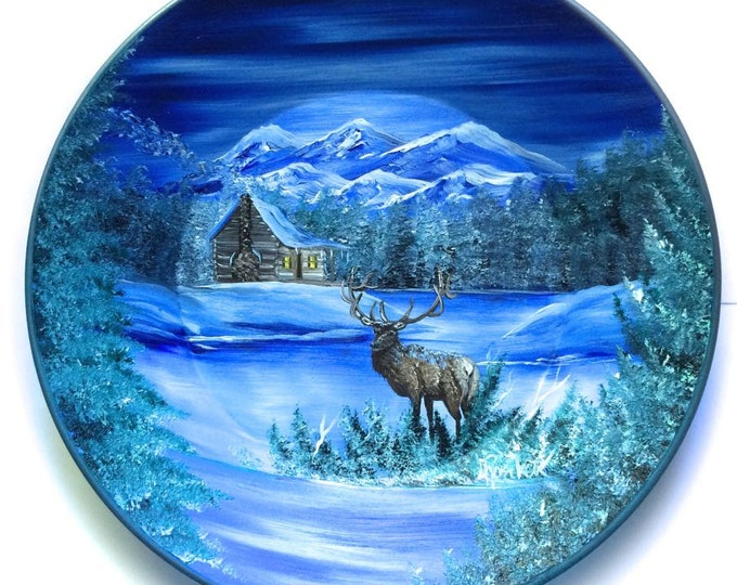 Hand Painted 11 Inch Gold Pans Blue Winter Log Cabin and Elk  On Sale!!