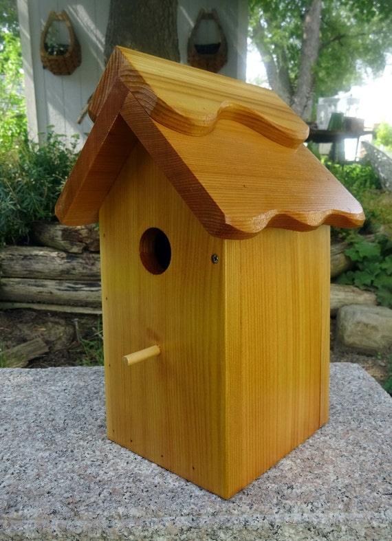 Birdhouse/Nesting Box, Outdoor Plain Wood. fully functional - Western Red Cedar. Made in USA