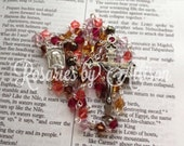Pink Brown Purple & Topaz 'Petal' Swarovski crystal bicone and dark green pearl rosary with silver Our Lady of Lourdes center and crucifix