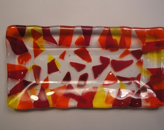 Fused Glass Multi-Colored Tray - BHS03333