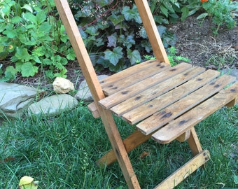 Vintage Wood Tievco Wood Folding Children's Camp Chair