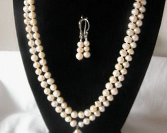 Genuine Natural Freshwater Peach Two Strand Pearl Necklace With Beautiful Pendant and Earrings