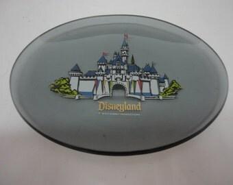 Walt Disney Productions Souvenir Smoky Gray Oval Glass Plate - Disneyland Sleeping Beauty Castle