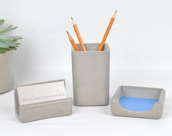 Concrete Desk Accessories / Business Card Holder / Pencil Holder / Post It Note Holder / Concrete Office / Office Organization / Pen Holder