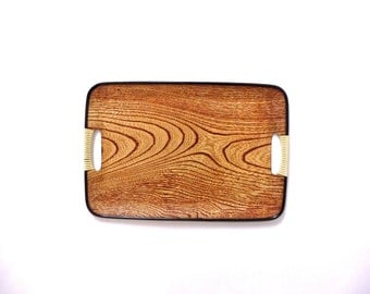 Retro Faux Wood Tray Laminated Woodgrain Tray