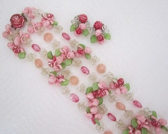 Pink flower necklace and earring set. double strand necklace. pink necklace. flower necklace. vintage jewelry