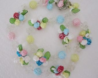 Vintage pastel floral garland necklace. pastel necklace. flower jewelry. floral necklace.