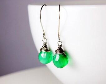 Green Onyx earrings, Sterling Silver fine earrings with green onyx gemstone, emerald green translucent crystal earrings, gift for her ER2141