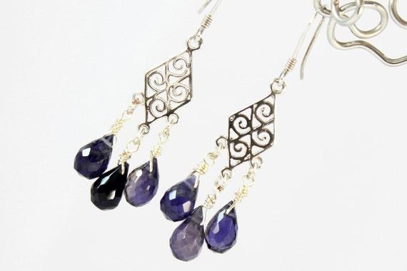 Iolite Dangle Earrings, Sterling Silver, fine violet blue gemstone earrings, mini chandeliers, holiday gift, Taurus, Libra, Sagittarius