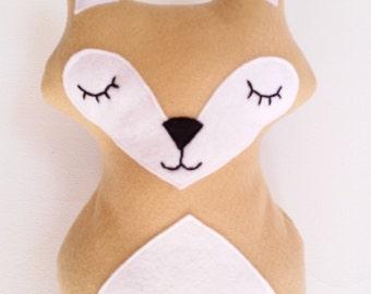 "Handmade fox plush beige 10"" fox plush fox softie"