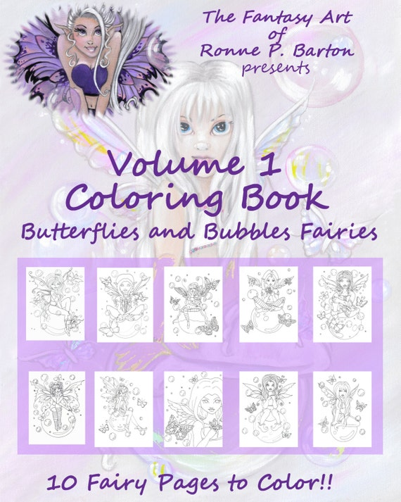 Volume One Fairy 10 Paper Coloring Sheets fairie faery fae fantasy cartoon big eye pages to color