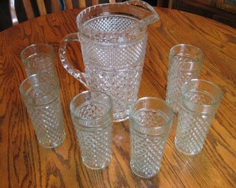 Vintage Clear Cut Glass Pitcher with Six Matching Glasses