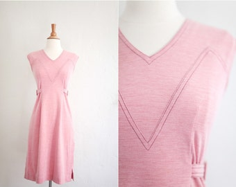 Vintage 1960's 1970's Pink Mauve Soft Cotton Day Dress XS Extra Small