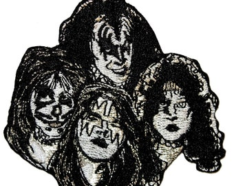KISS Band Members in Make-Up Costume Personas Hard Rock Music Iron On Applique Patch