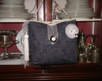 Classic black and white dressy handbag